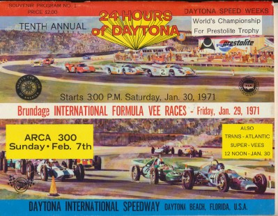Vintage 1971 24 Hours Of Daytona Racing Program